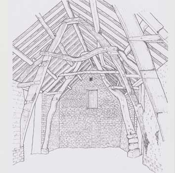 cruck, Cross Farm, Burgh by Sands, drawn by Richard Wilson
